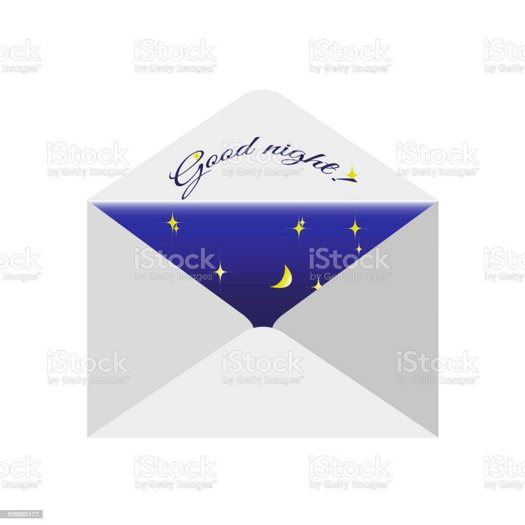 Herkömmliche Post Umschlag Mit Einem Wunsch Text Gute Nacht