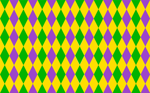 Traditional Mardi Gras seamless pattern. Green, purple and yellow geometric vector background. Easy to edit design template for your projects.