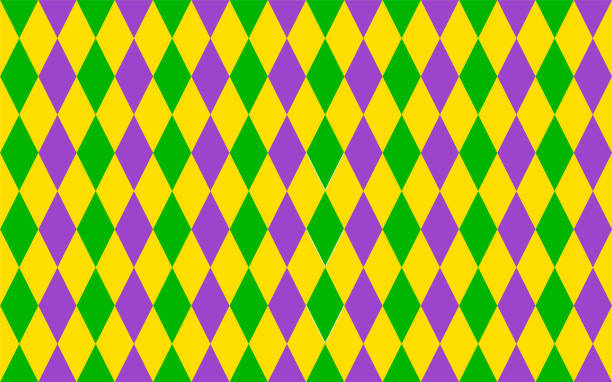 Traditional Mardi Gras seamless pattern. Green, purple and yellow geometric vector background. Easy to edit design template for your projects. Traditional Mardi Gras seamless pattern. Green, purple and yellow geometric vector background. Easy to edit design template for your design projects. mardi gras stock illustrations