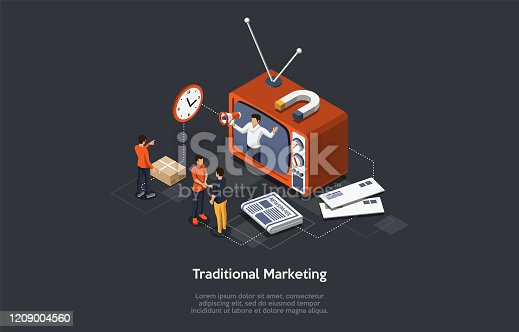 Traditional Marketing. Internet Strategies And Development, Social Media, Business Goal. Marketers Analyze Data, Develop Traditional Product Promotion Strategies. Isometric Vector Illustration.