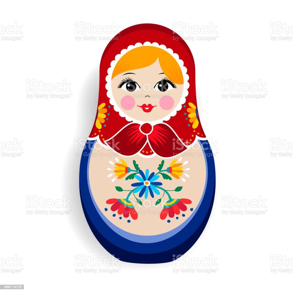 Traditional matrioska or russian doll isolated vector art illustration