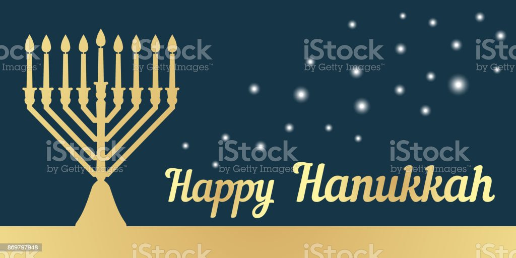 A traditional menorah for the festival of Jewish Chanukah. Horizontal banner. Gold silhouette on a dark background. Vector illustration vector art illustration