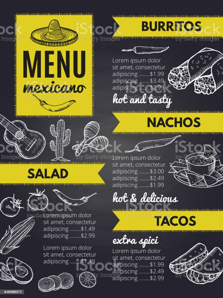 Traditional Mexican Cuisine Design Template Of Restaurant Menu Stock