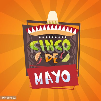 istock Traditional Mexican Festival Poster Cinco De Mayo Holiday Greeting Card Design 944957622