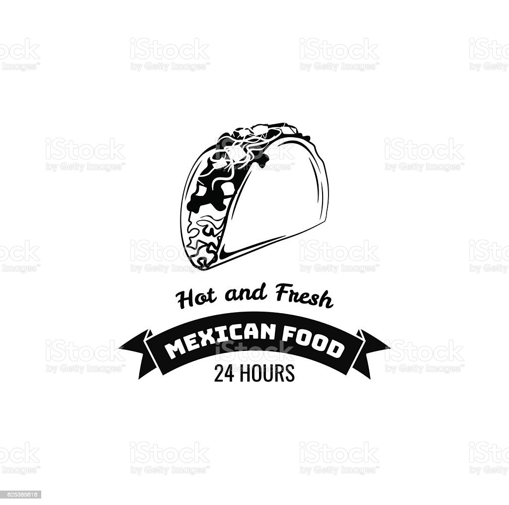 traditional mexican food tasty taco vector logo template or concept
