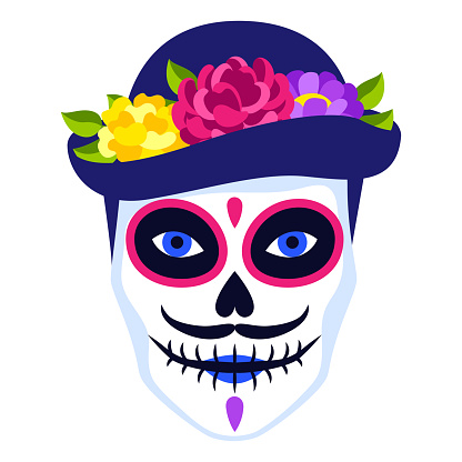 Traditional Mexican head skull. Dia de los muertos. Day of the Dead symbol with flowers.