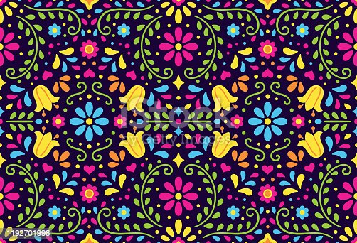 Traditional Mexican floral seamless pattern. Colorful ethnic ornament in folk embroidery style. Vector background design.