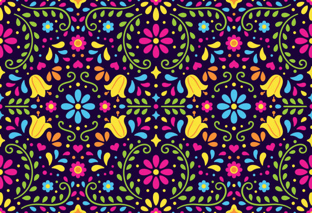 Traditional Mexican seamless pattern vector art illustration