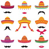 Traditional Mexican sombrero hats, vector set