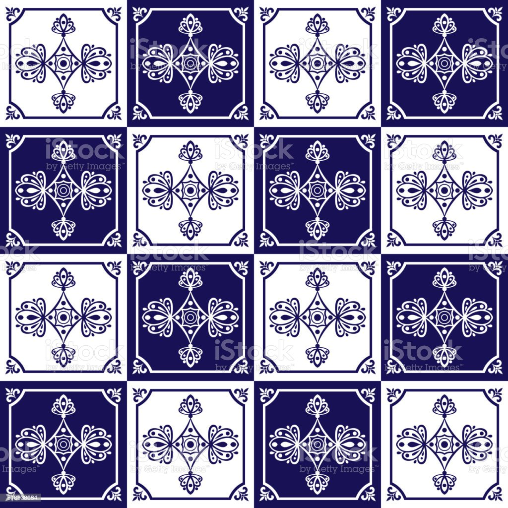 Traditional Mexican Tiles Pattern Seamless Vector Royalty Free