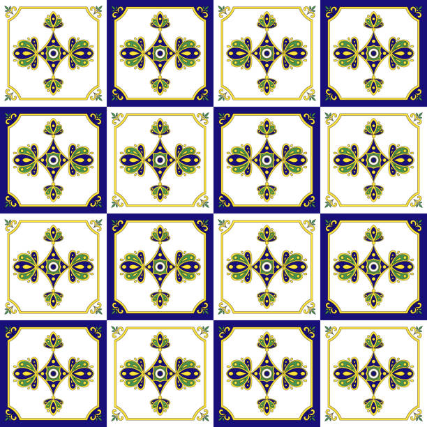 Traditional Mexican Tiles Pattern Seamless Vector Art Illustration