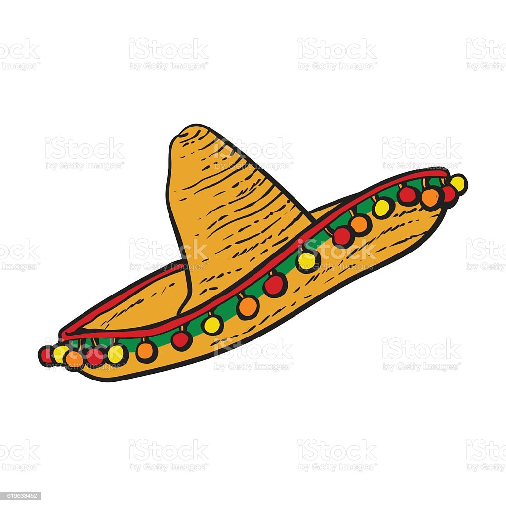 Traditional Mexican wide brimmed sombrero hat vector art illustration