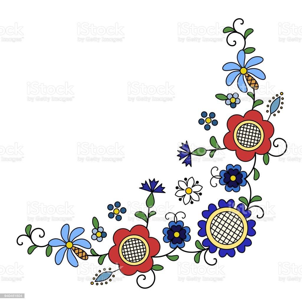 Traditional, modern Polish - Kashubian floral folk corner decoration vector vector art illustration