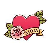 Traditional Mom heart rose tattoo