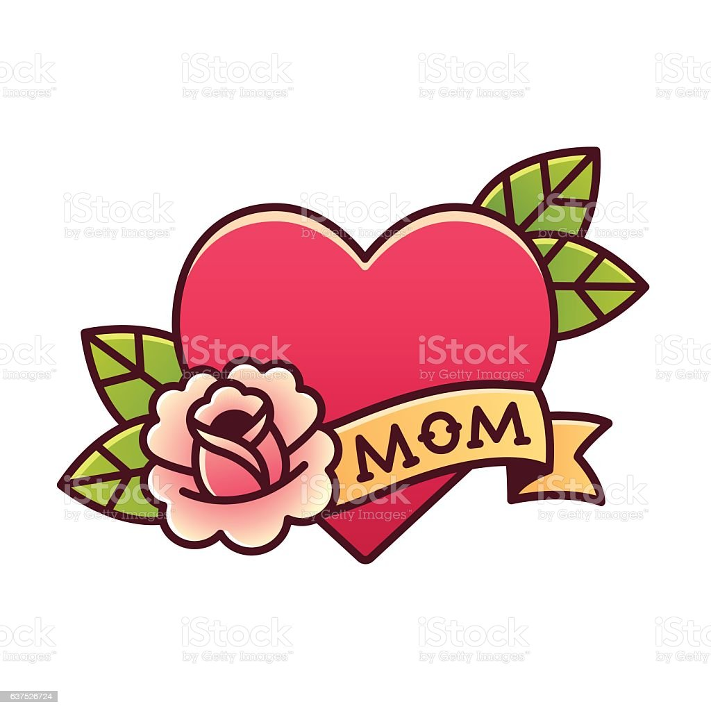 Traditional Mom heart rose tattoo vector art illustration