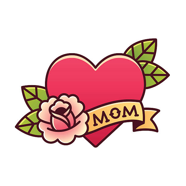 ilustraciones, imágenes clip art, dibujos animados e iconos de stock de traditional mom heart rose tattoo - madre