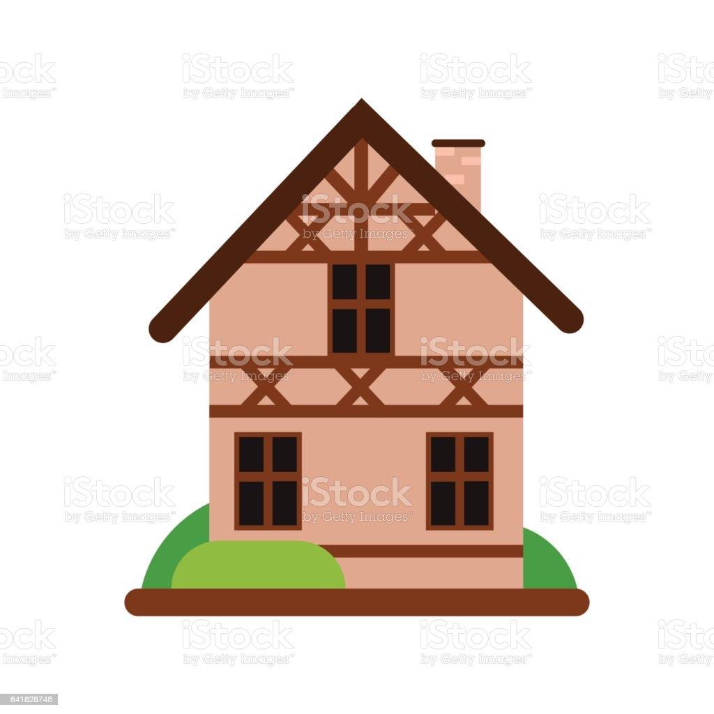 Ilustración de Casa Alemana Vieja Tradicional Con Madera Estructura ...