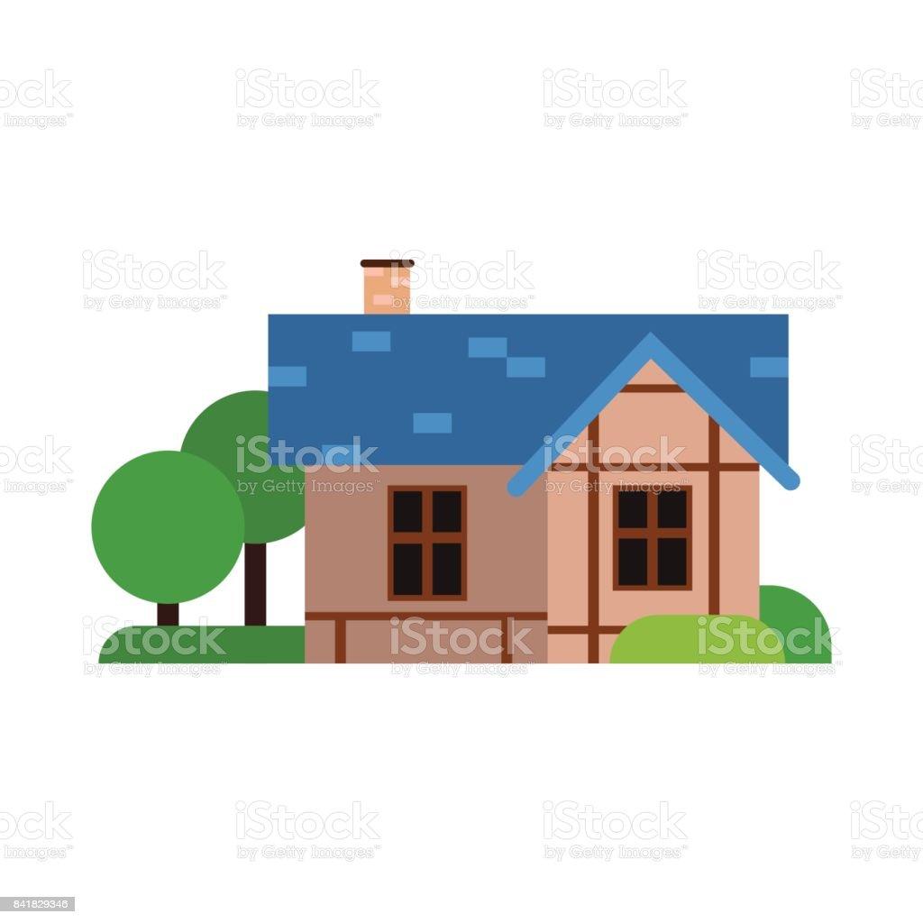 Traditionelles Altes Haus Mit Blauen Dach, Antike Architektur Gebäude  Vektor Illustration Lizenzfreies Traditionelles Altes Haus