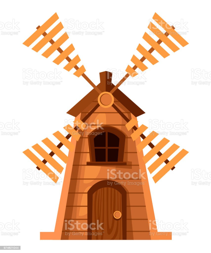 Traditional Old Windmill Wooden Mill Cartoon Style Design Vector  Illustration Isolated On White Background Web Site Page And Mobile App  Design Stock