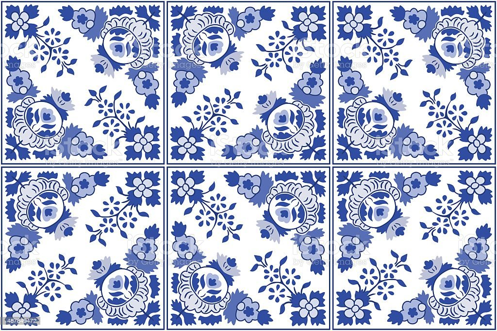 Traditional ornate portuguese tiles azulejos. Vector illustration. vector art illustration