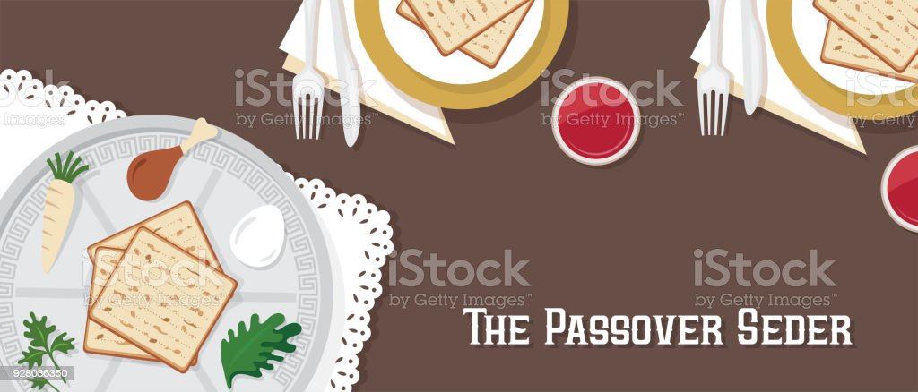 traditional passover table for Passover dinner with passover plate. vector illustration template banner design vector art illustration