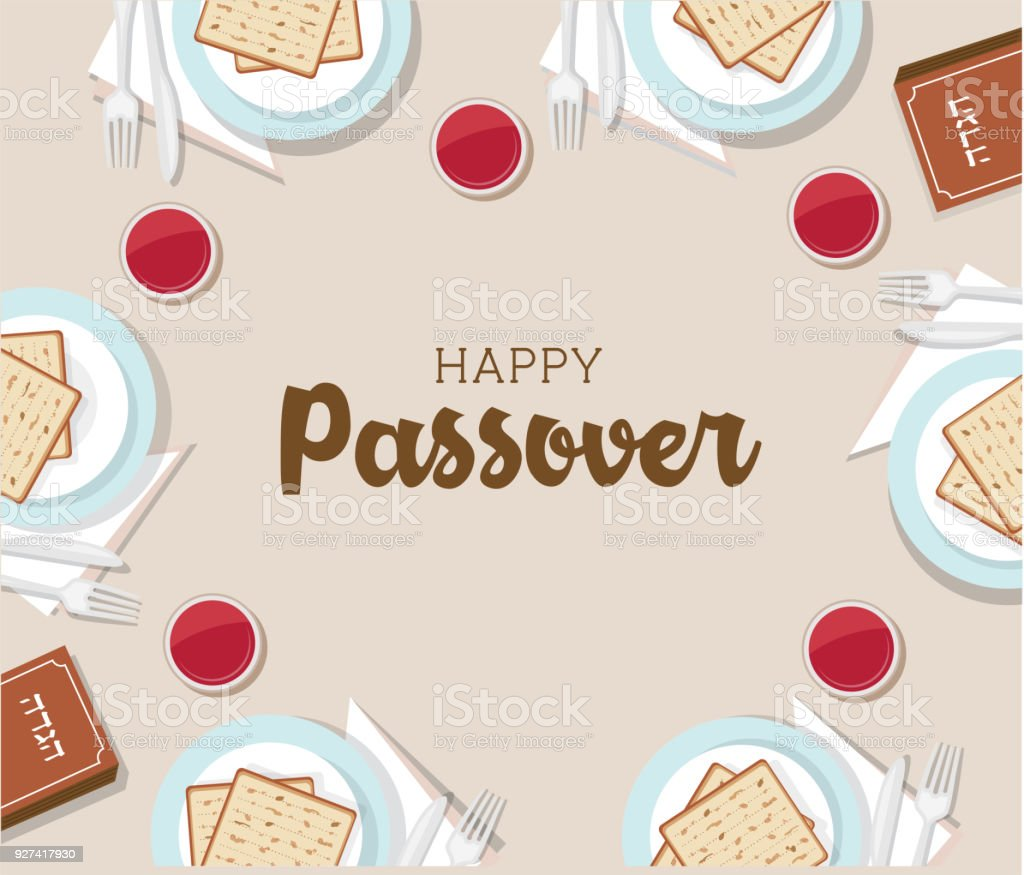 traditional passover table with passover plate and Haggadah book vector art illustration