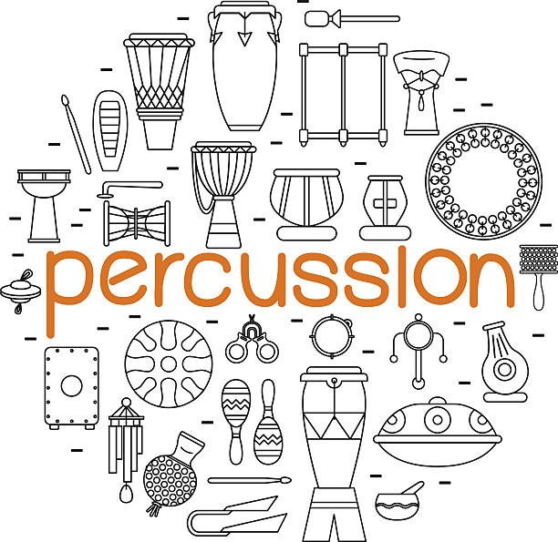stockillustraties, clipart, cartoons en iconen met traditional percussion instruments - castagnetten