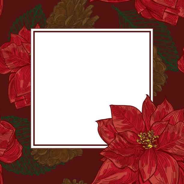 Traditional Poinsettia Holiday Christmas Template vector art illustration