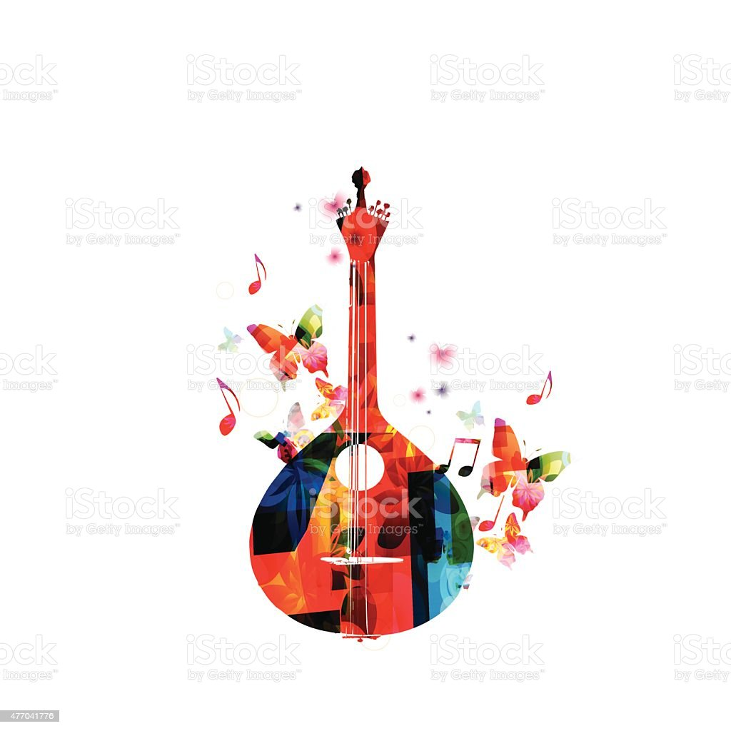 Traditional Portuguese guitar with butterflies vector art illustration