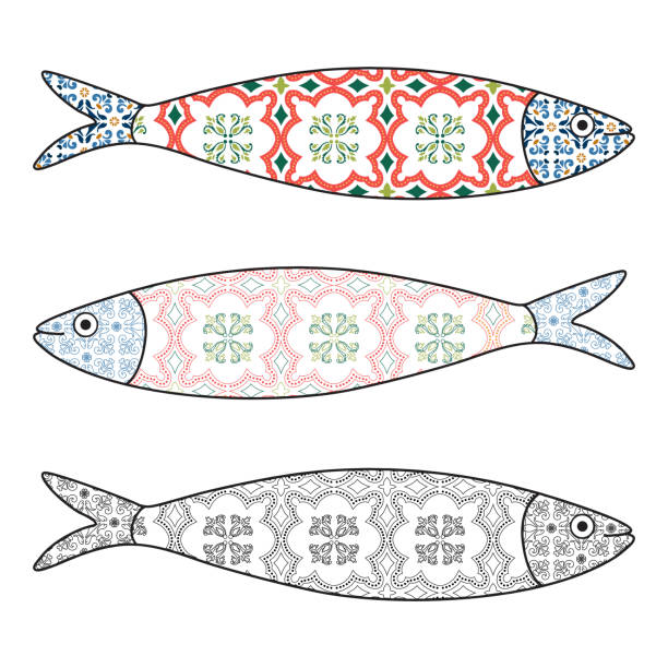 ilustrações de stock, clip art, desenhos animados e ícones de traditional portuguese icon. colored sardines with typical portuguese tiles patterns. vector illustration - lisbon