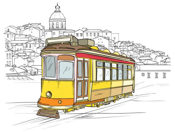 ilustrações de stock, clip art, desenhos animados e ícones de traditional portuguese tram, lisbon cityscape - eletrico lisboa