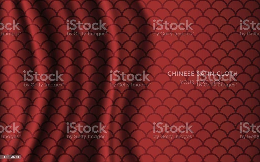 Figura Geométrica Patrón Rojo De Satén Chino Tradicional