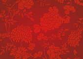Traditional red gradient Asian flower textured background