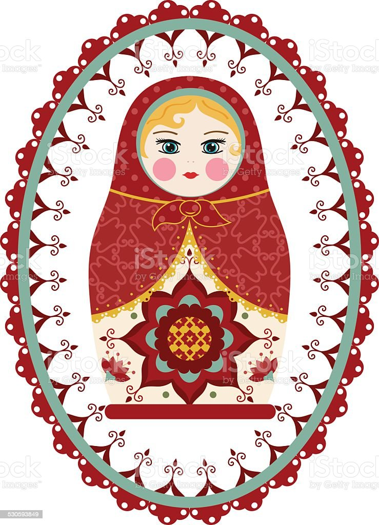 Traditional Red Russian Doll with Ornate Frame vector art illustration