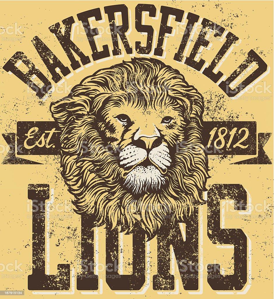 Traditional Retro Lion Mascot Design royalty-free stock vector art