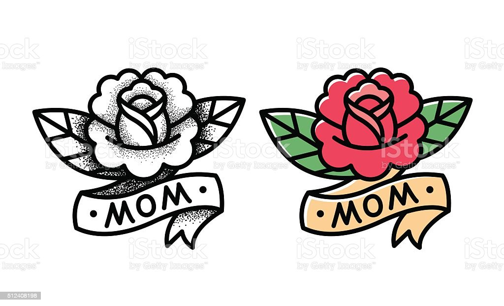 Traditional rose tattoo vector art illustration