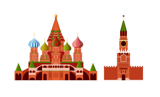 Traditional russian architecture. Russian culture, landmarks and symbols. Traditional Russian architecture. Russian culture, landmarks and symbols. Architectural building Kremlin and St. Basil's Cathedral, Moscow, monuments. Travel, vacation in Russia. Vector illustration kremlin stock illustrations