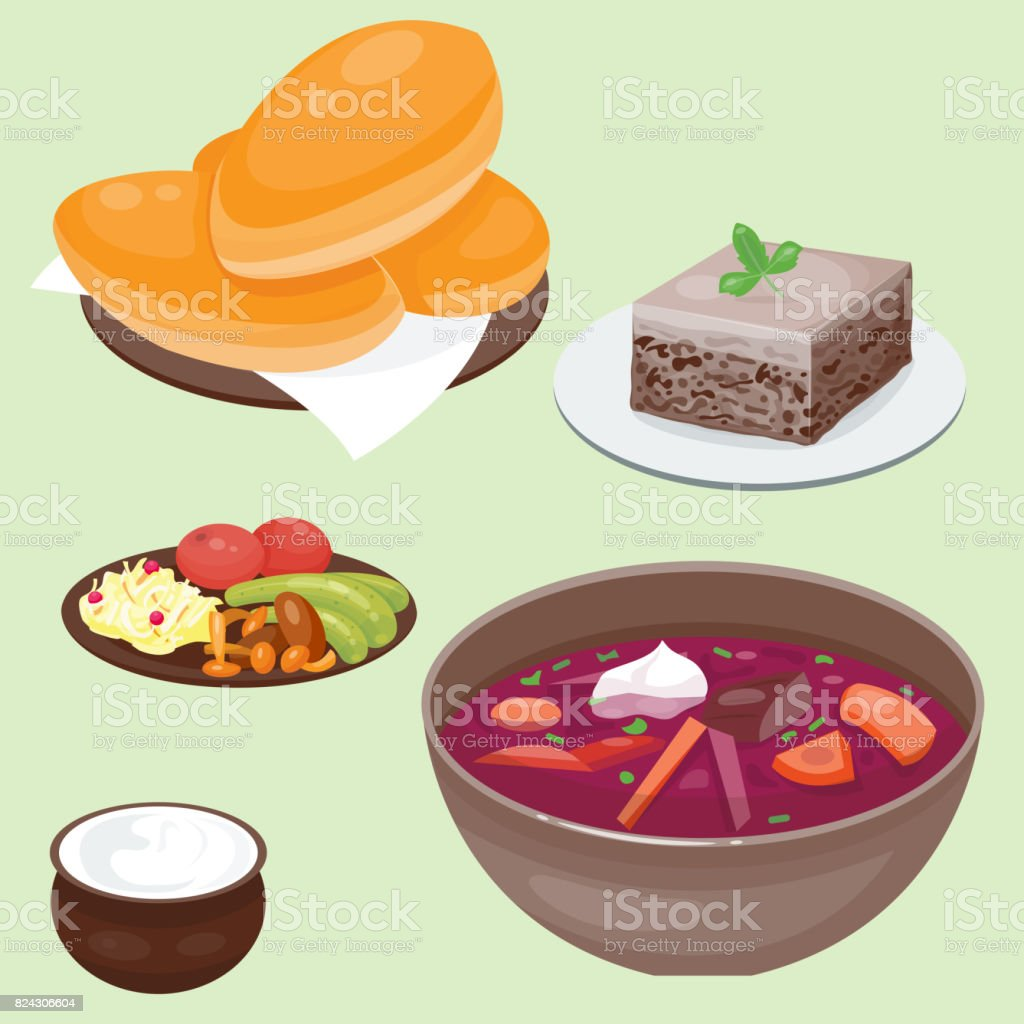 Traditional Russian Cuisine Culture Dish Course Food Welcome To Russia Gourmet National Meal Vector Il Ration Royalty