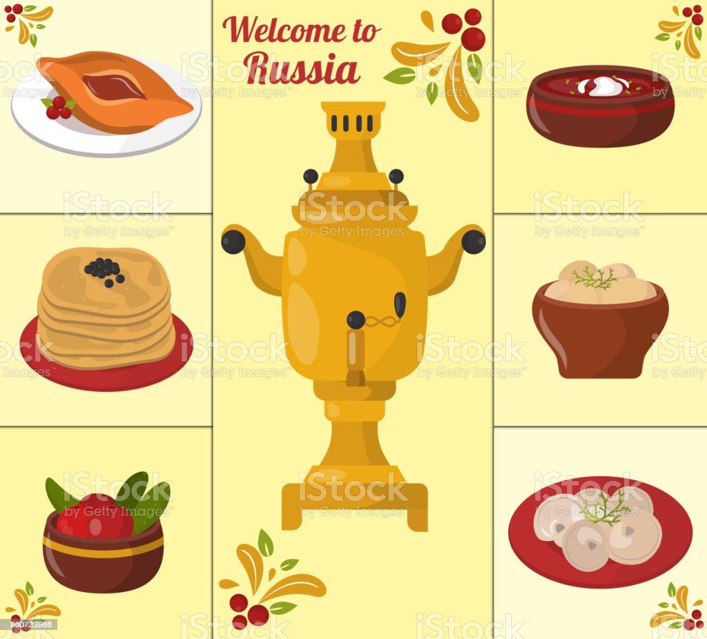 伝統的なロシア料理文化料理コース料理ロシア グルメ全国お食事ベクトル図へようこそ ロイヤリティフリー伝統的なロシア料理文化料理コース料理ロシア グルメ全国お食事ベクトル図へようこそ - イラストレーションのベクターアート素材や画像を多数ご用意
