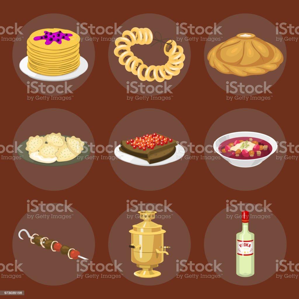 Traditionelle Russische Kuche Kultur Gericht Kurs Essen Willkommen In Russland Gourmetnationale Mahlzeit Vektorillustration Stock Vektor Art Und Mehr Bilder Von Alkoholisches Getrank Istock