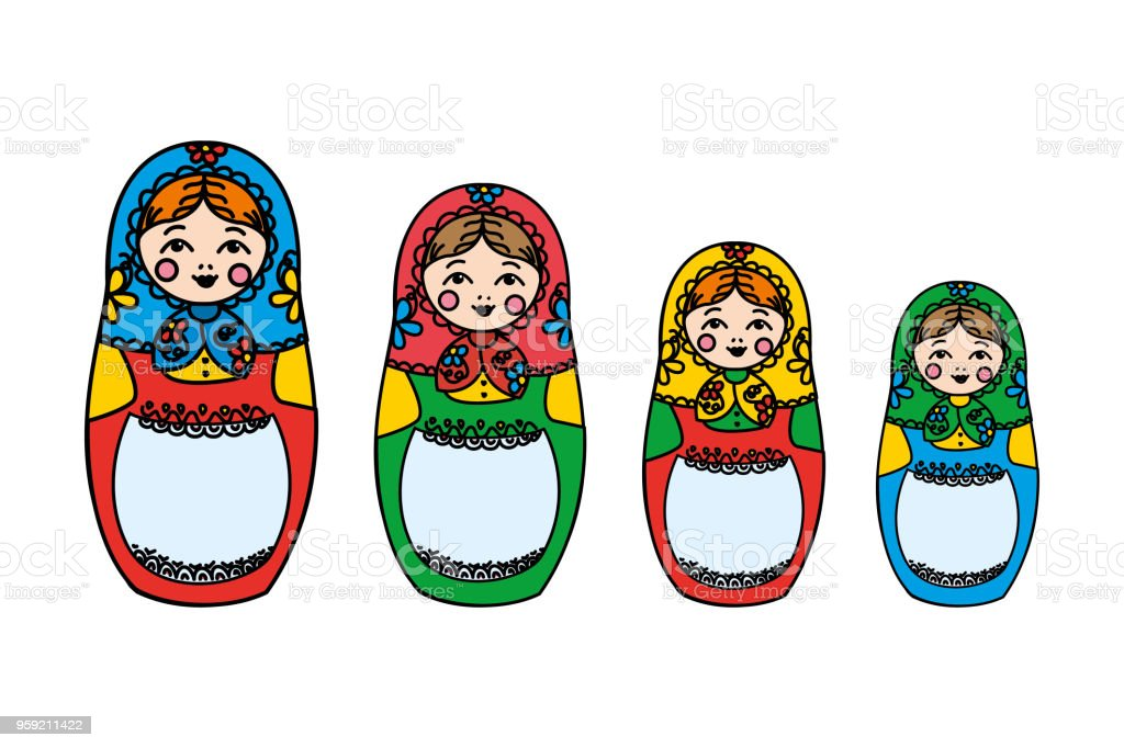 Traditional Russian doll- matreshka,isolated on white background vector art illustration
