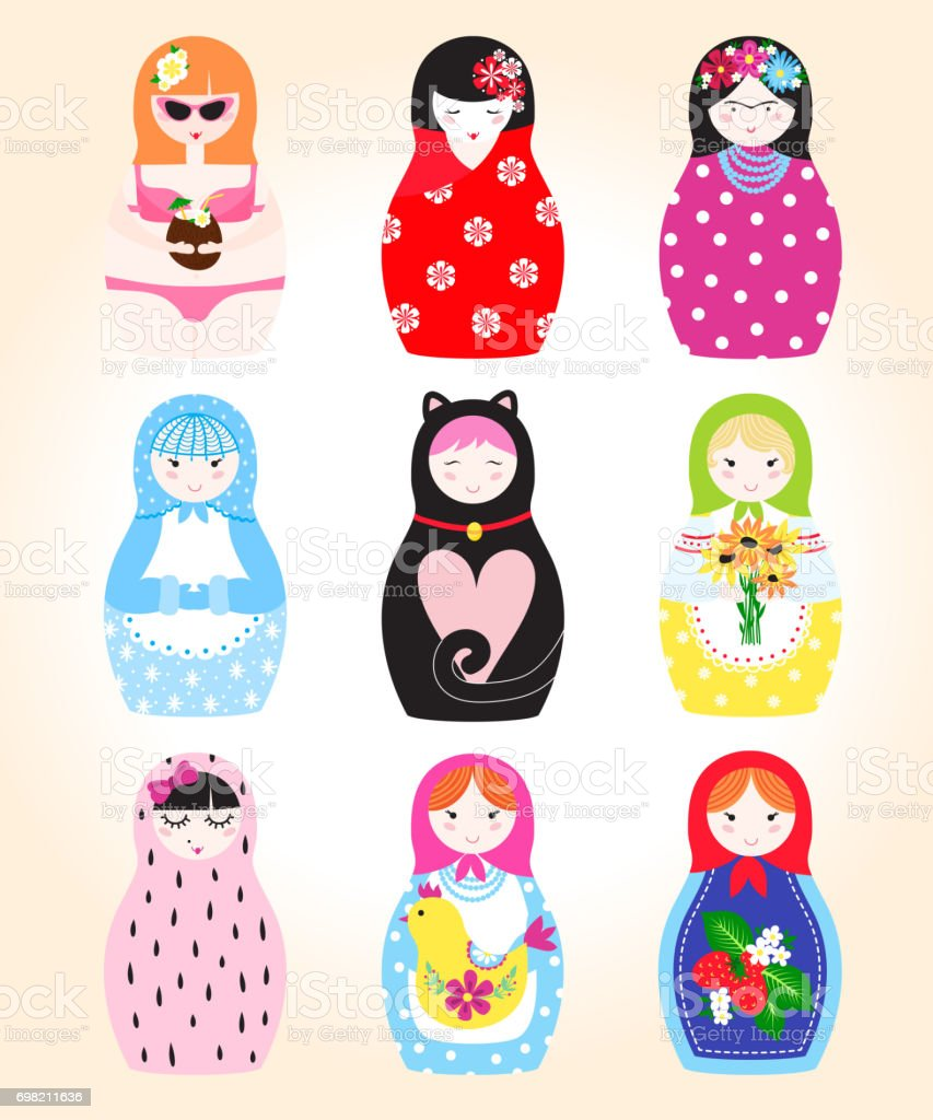 Traditional Russian doll Matryoshka toy nesting vector illustration with human puppet girl cute face vector art illustration