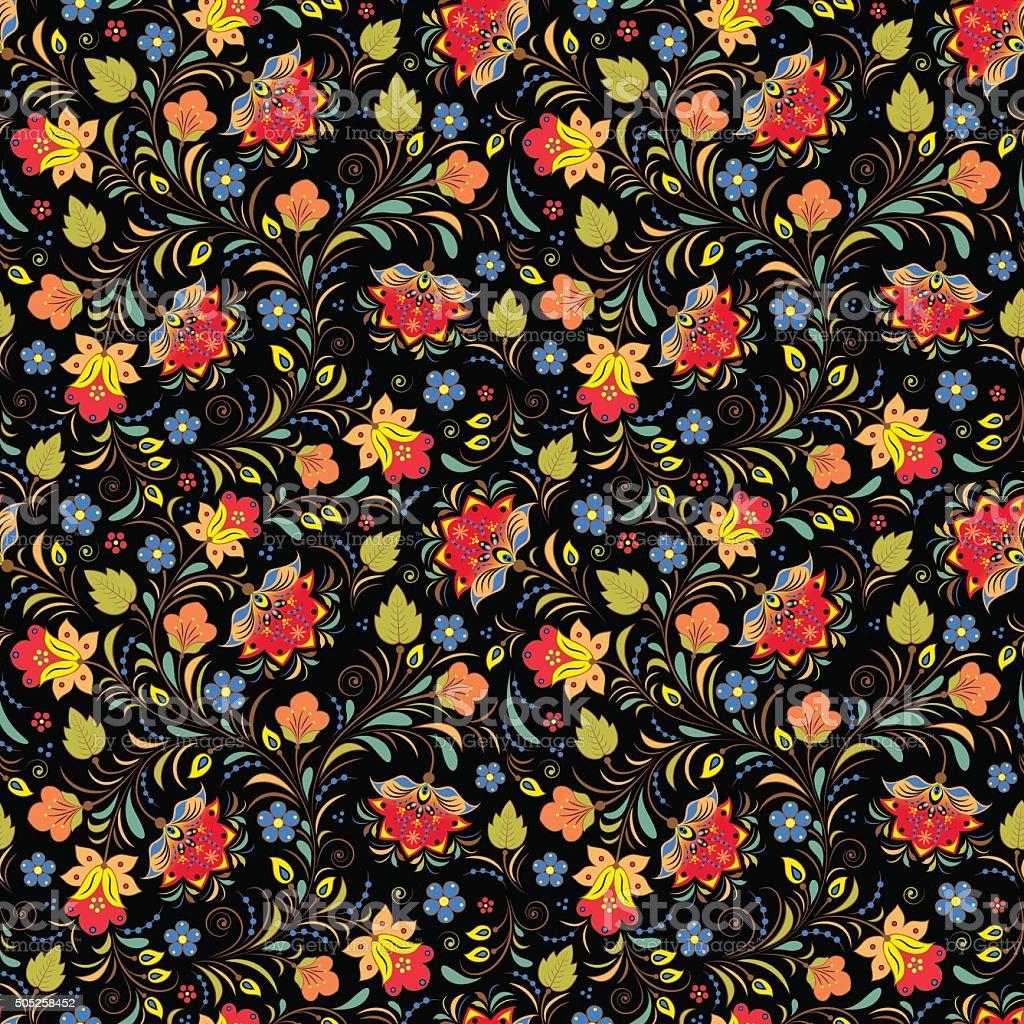 traditional russian floral ornament vector art illustration