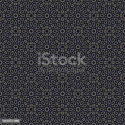 Traditional seamless background in blue and gold. Geometric pattern in Islamic Style. Vector illustration.