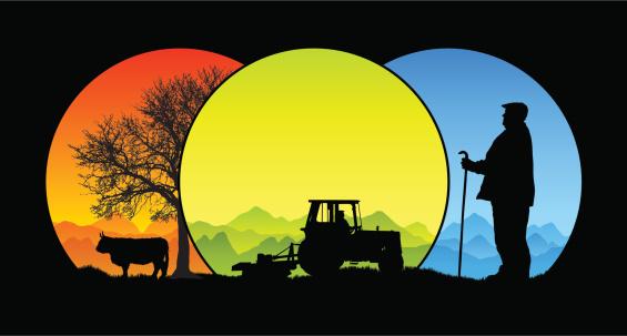 Traditional seasonal farming silhouette