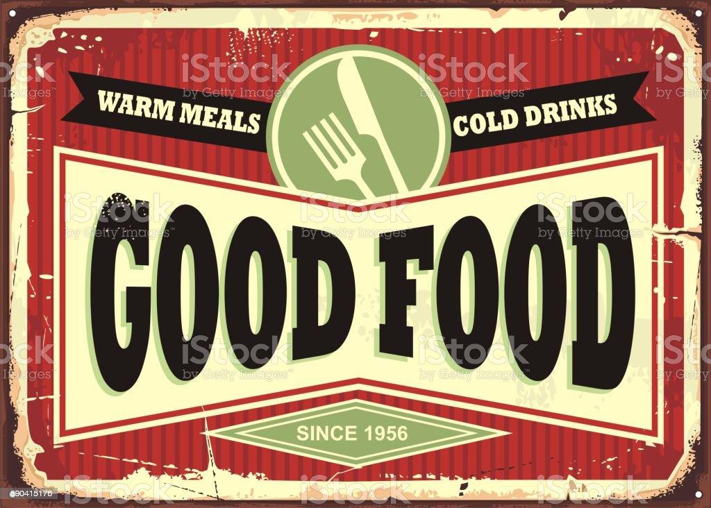 Traditional sign design for restaurant or diner vector art illustration