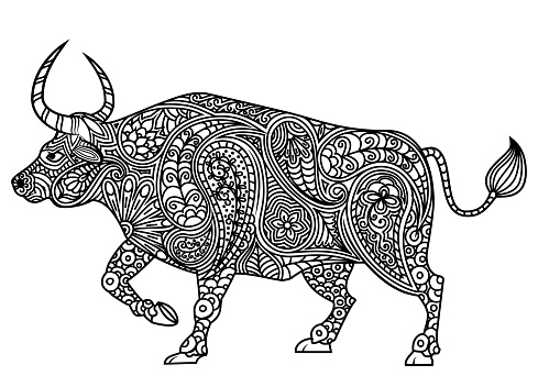 Traditional silhouette of Ox and floral ethnic Paisley pattern. Ornamental bull. Design for Chinese New Year 2021, year of the Ox. Animal coloring template.