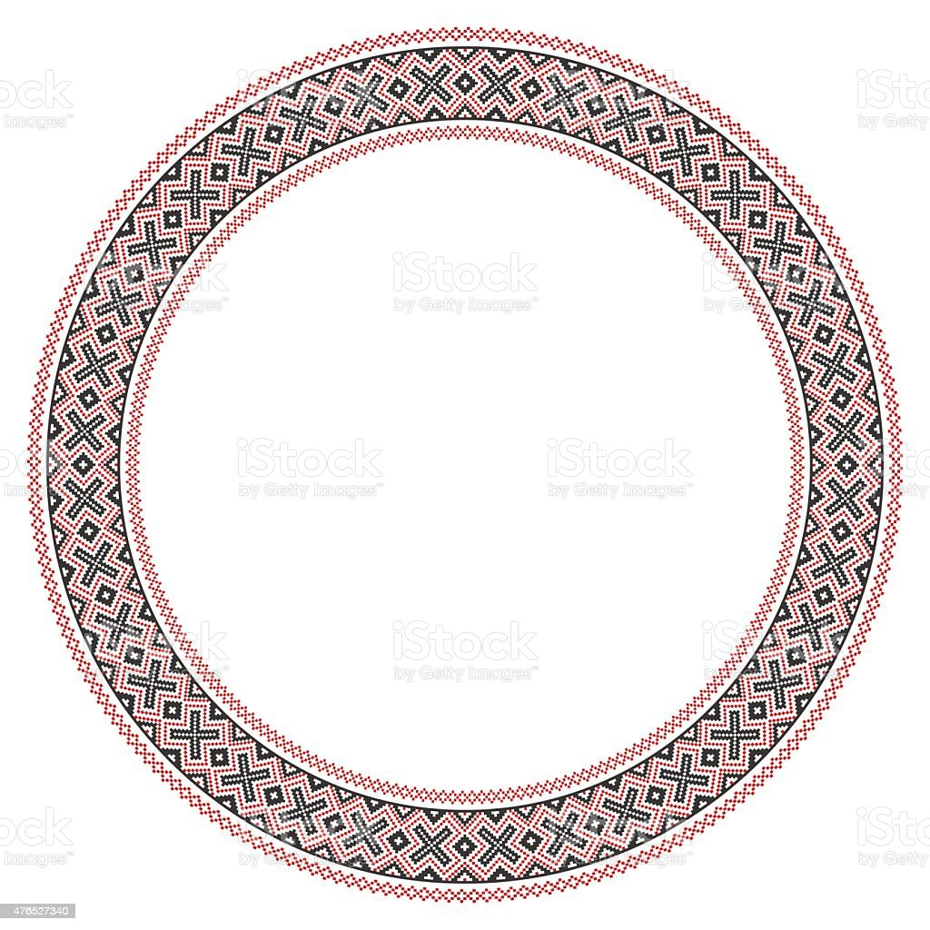 Traditional Slavic round embroidery vector art illustration