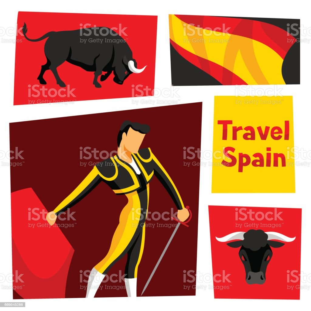 Traditional spainish corrida. Bull and toreador with sword and red cape vector art illustration