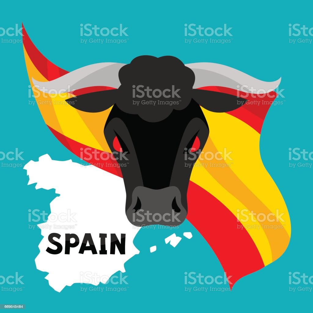 Traditional spainish corrida. Bull on background flag and map of Spain vector art illustration